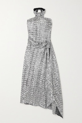 Roland Mouret Halse Asymmetric Sequined Jersey Halterneck Midi Dress - Silver