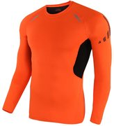 OCHENTA Mens Crew Neck Long Sleeve Training Running Compression Shirt Top Rim Asian Tag Size S - US Size XS