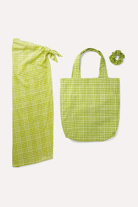 Faithfull The Brand Checked Cotton Pareo, Tote And Hair Tie Set - Lime green