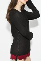 Sugar Lips Black Lace-Up Sweater