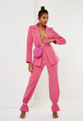 Missguided Fuchsia Co Ord Seam Detail Straight Leg Pants