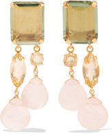 Bounkit Gold-tone amethyst quartz earrings
