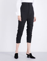 Jacquemus Ladies Dark Grey Cropped Le Corsaire Ruched Stretch-Wool Pants