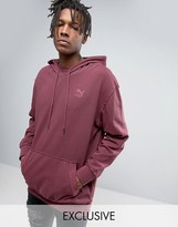 Puma Distressed Oversized Pull Over Hoodie In Burgundy Exclusive To ASOS 57530601