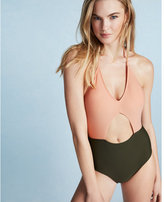 Express color block cut-out one-piece swimsuit