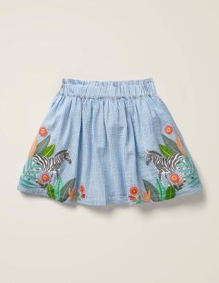 Zebra Embroidered Woven Skirt