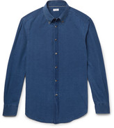 Brunello Cucinelli - Slim-fit Button-down Collar Washed-chambray Shirt