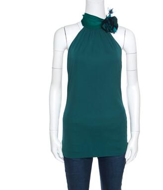 Gucci Emerald Green Knit Silk Orchid Flower Applique Halter Top L
