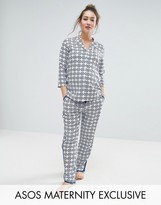Asos Traditional Tile Print Pajama Shirt And Pant Set