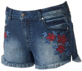 Tinseltown Juniors' Floral Denim Shortie Shorts