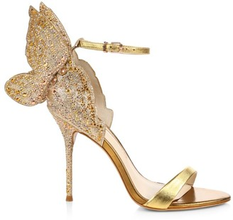 Sophia Webster Chiara Butterfly Embellished Glitter & Metallic Leather Sandals