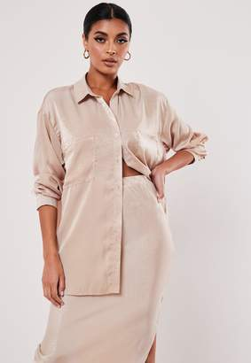 Missguided Nude Satin Oversized Pocket Detail Shirt