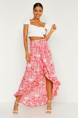 boohoo Paisley Bohemian Wrap Ruffle Maxi Skirt