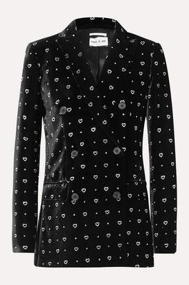 Paul & Joe Double-breasted Glittered Velvet Blazer - Black