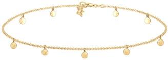 Elli Women's 925 Sterling Silver Gold Plated Plain Round Pendants Choker Necklace