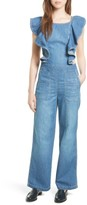 Rebecca Taylor Women's Strap Tie Back Denim Jumpsuit