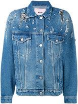 MSGM embellished boxy denim jacket - women - Cotton - 38