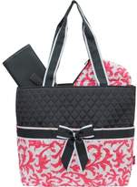 Coral & White Damask Print Quilted 3pc set Diaper Bag by N.GIL