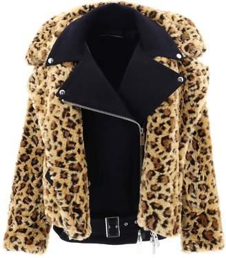 Sacai Leopard Print Belt Detail Faux Fur Jacket