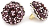 Miguel Ases Amethyst Quartz and Swarovski Button Earrings