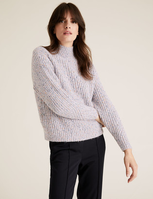 Marks and Spencer Textured Funnel Neck Relaxed Jumper