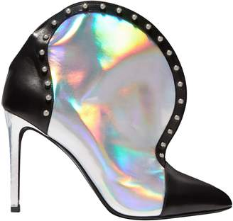 Balmain Studded Iridescent-effect And Smooth-leather Ankle Boots