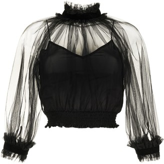 Alice + Olivia Alexia sheer top