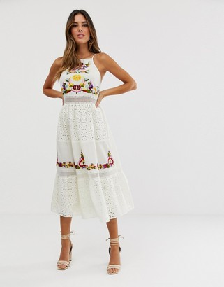 ASOS DESIGN square neck tiered midi dress with lace and embroidery