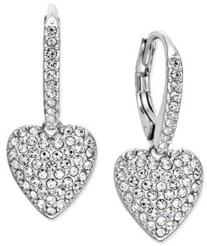 Eliot Danori Pave Heart Drop Earrings, Created for Macy's