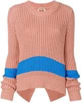 No.21 block stripe chunky-knit sweater
