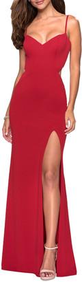 La Femme V-Neck Sleeveless Strappy-Back Jersey Gown
