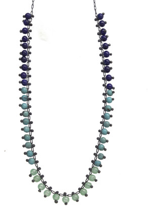 Ten Thousand Things 15 Inch Ombre Beaded Necklace - Oxidized Sterling Silver