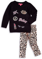 Betsey Johnson Girls 2-6x Beauty Applique Sweater and Leggings Set