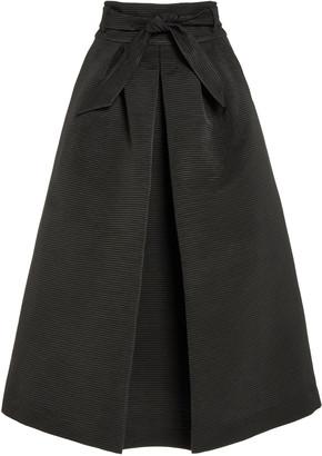 Martin Grant Pleated Cotton-Blend Faille A-Line Midi Skirt