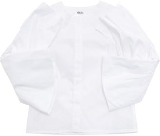 Nikolia Stretch Cotton Poplin Shirt W/ Ruffles