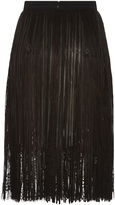 Elie Saab Leather Fringe and Lace Skirt