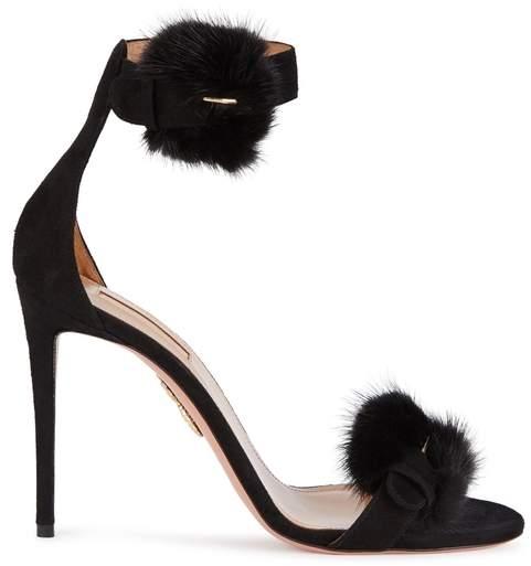 Aquazzura Sinatra Black Mink-trimmed Satin Sandals