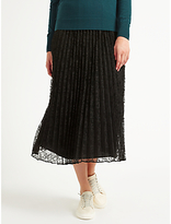 Marella Nef Pleated Lace Skirt, Black