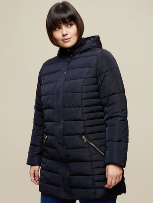 Dorothy Perkins Curve Long Hooded Padded Coat - Navy