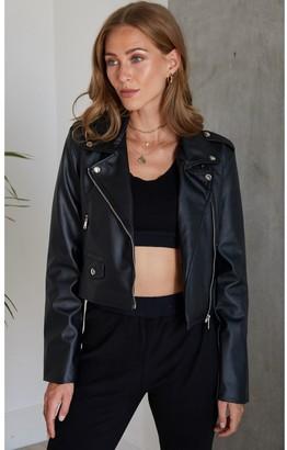 Hey You Leather Look Biker Jacket in Black