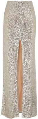 Galvan Modern Love silver sequin maxi skirt