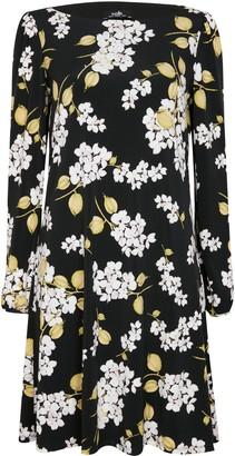 Wallis Black Floral Print Swing Dress