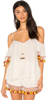 Band of Gypsies Tassel Trim Cold Shoulder Top