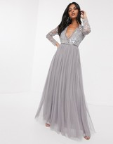 Needle & Thread sequin bodice maxi dress in grey