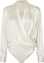 Alexander Wang Ivory Silk Shirt Bodysuit