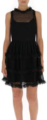 RED Valentino Frill Tiered Mesh Mini Dress