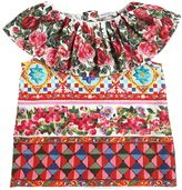 Dolce & Gabbana Mambo Print W/ Roses Cotton Poplin Top