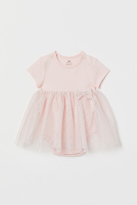 H&M Tulle-skirt Bodysuit Dress - Pink