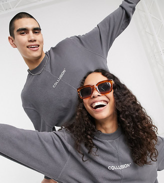 Collusion Unisex sweatshirt with cut and sew reverse fabric detail