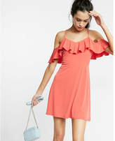 Express Ruffle Cold Shoulder Fit And Flare Dress